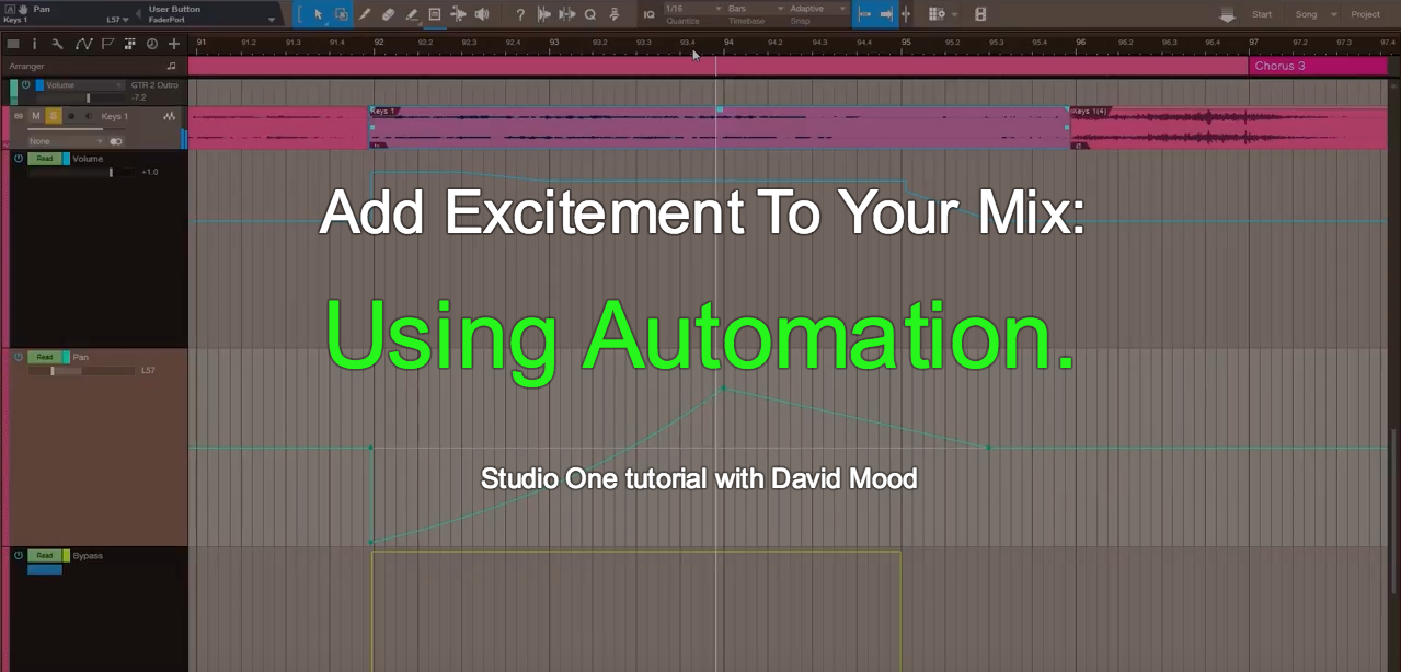 Mixing Music: Automation Studio One Tutorial with David Mood
