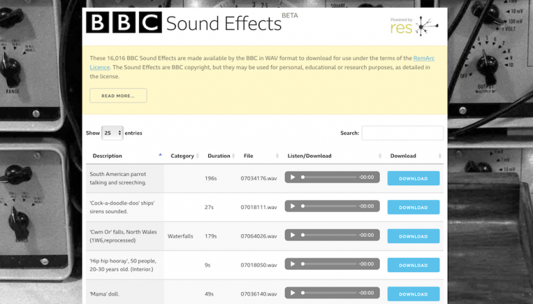 The BBC Offers 16,000+ Free Sound Effect Samples from Its Archive